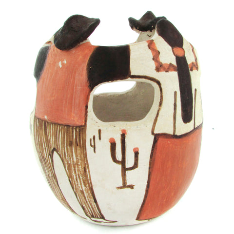 Acoma Figural Pottery Vase Cowboys & Indian Maidens
