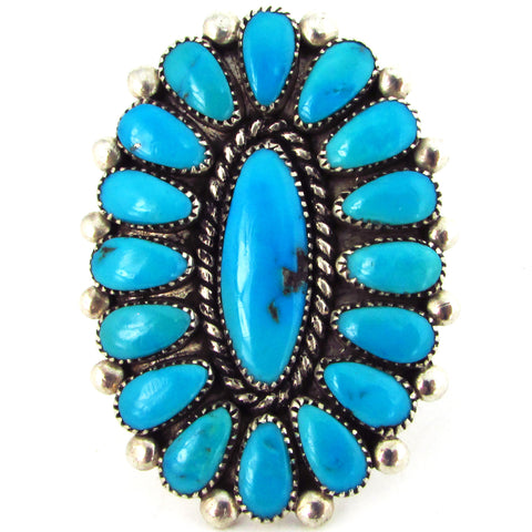 Alice Quam Sterling Silver Zuni Turquoise Cluster Ring, Size 8