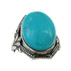 Antique Art Nouveau Sterling Silver & Turquoise Ring, Size 5.25