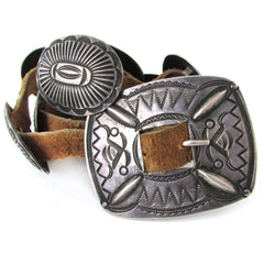 Antique Coin Silver Child's Concho Belt or Hatband