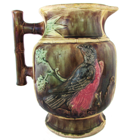 Antique English Majolica Pitcher w/ Bamboo-Style Handle