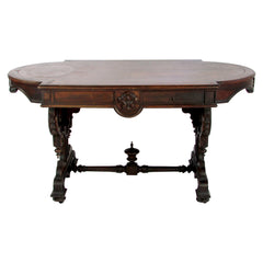 Antique English Walnut Table Ornate Carving