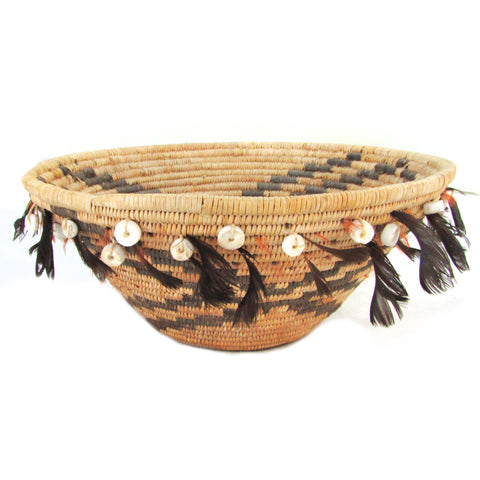 Antique Pomo Gift Basket Bowl w/ Feathers & Shells Attached