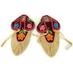 Brightly Beaded Woodlands Moccasins, Pair