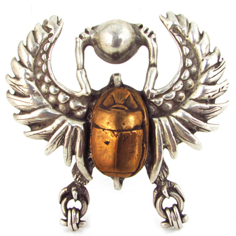 Cast Sterling Silver Winged Beetle w/ Bronze Scarab