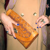 Leather Clutch Hand-carved + Laced