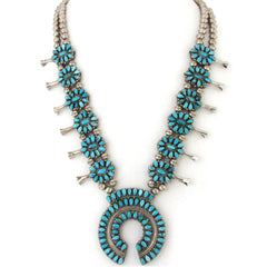 Coral & Turquoise Reversible Squash Blossom Necklace