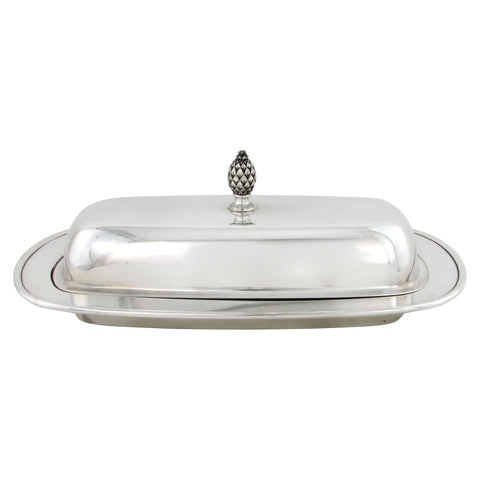 Covered Silver Butter Dish w/ Glass Insert