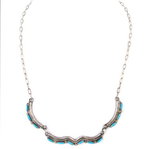 Dainty Zuni Sterling Silver & Turquoise Necklace