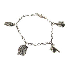 Fred Harvey-Era Sterling Silver Charm Bracelet Agave, Baby, Tomahawk, Headdress