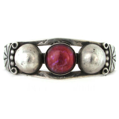 Fred Harvey Sterling Silver Cuff w/ Dragons Breath Art Glass Cabochon