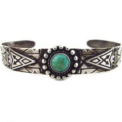 Fred Harvey Sterling Silver Cuff w/ Turquoise & Applied Arrowheads
