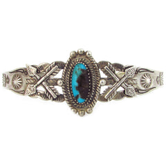 Fred Harvey Sterling Silver Cuff w/ Turquoise & Applied Arrows