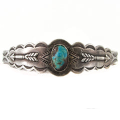 Fred Harvey Sterling Silver Cuff w/ Turquoise & Arrows