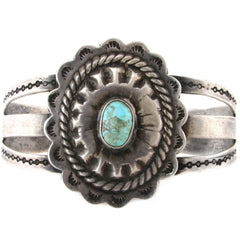 Fred Harvey Sterling Silver Concho Cuff w/ Turquoise Cabochon