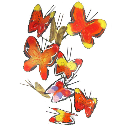 Curtis Jere Enameled Butterfly Brass Wall Hanging