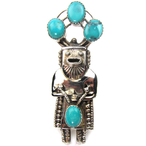 Large Turquiose & Silver Kachina Ring