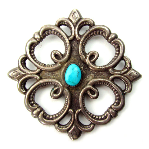 Antique Sandcast Pin w/ Turquoise