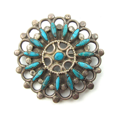 Zuni Wagon Wheel Pin w/ Turquoise