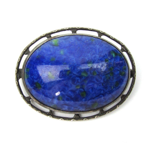 Arts & Crafts Silver Pin w/ Blue Glass Stone