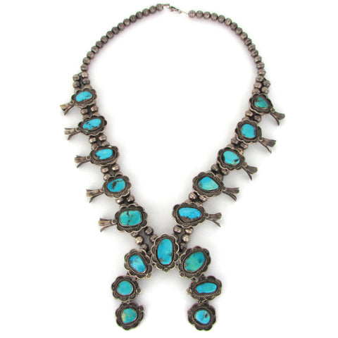 Traditional Squash Blossom Necklace w/ Natural Turquoise