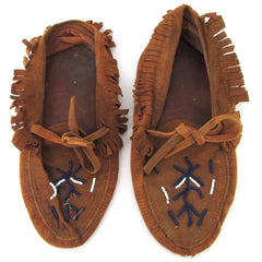 Moccasins with Beaded Decoration and signs of use