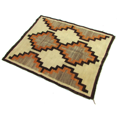 "Antique Navajo Wearing Blanket Throw 4'4"" x 3'11"""