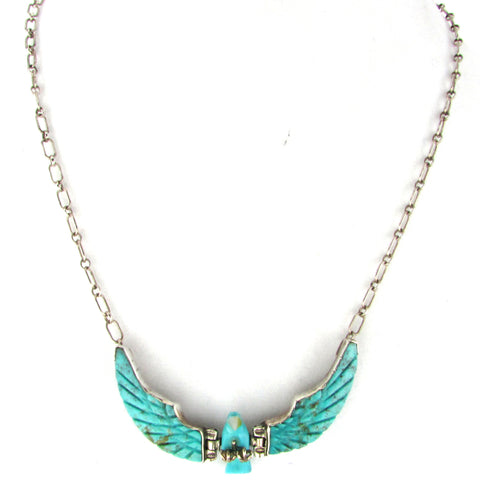 Articulated Carved Turquoise Wing Eagle Necklace