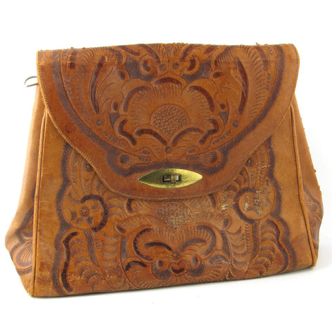 Large Tooled Leather Hangbag