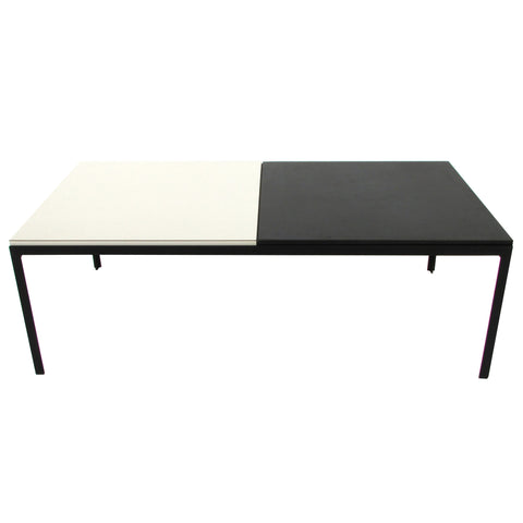 Early Florence Knoll T Angle Iron Coffee Table w/ Black & White Laminate Top