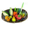 Basket & Hand Carved, Painted Wood Fruit & Vegetables
