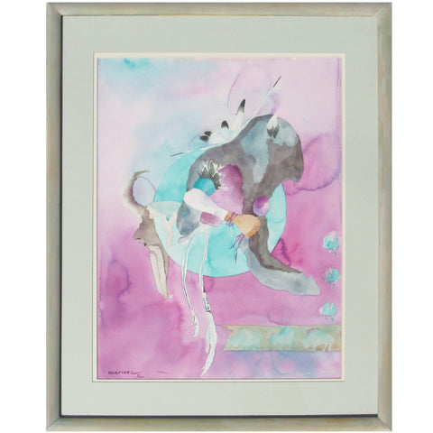 Large Framed Buffalo Dancer Watercolor