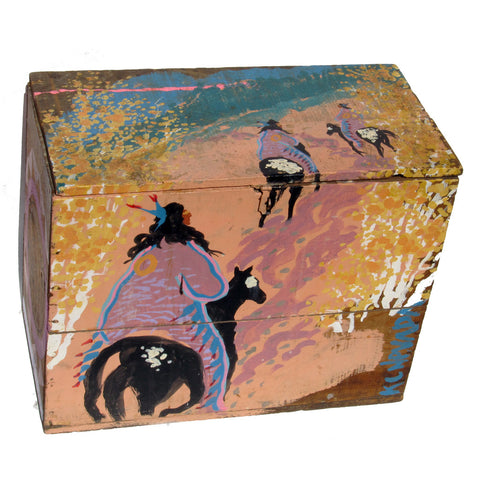 Antique Borax Box with American Indian Scenes Painted on the Surface