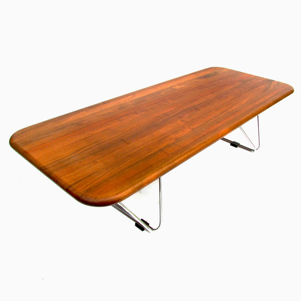 herman miller coffee table w folding chrome legs by ray wilkes