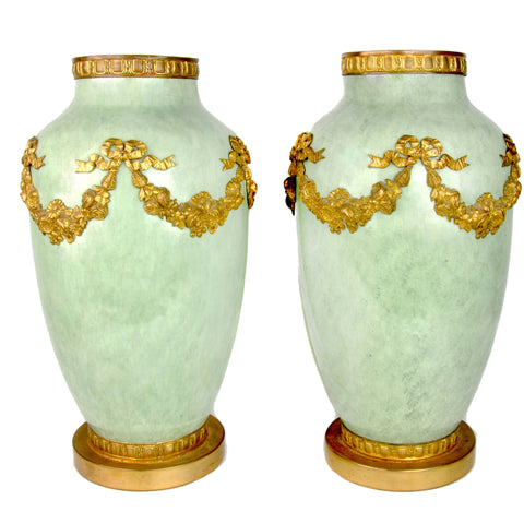 Pair of Large Ormolu Mount Sèvres Vases in Celedon Green