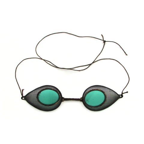 Antique Motorcycle Steampunk Wind Goggles w/ Green Lens