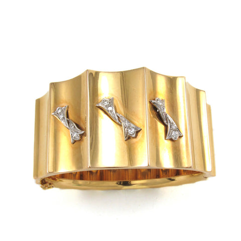18k Gold Vintage Cuff with Diamonds