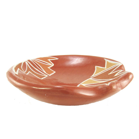 Santa Clara Redware Dish with Painted Decoration