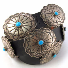 Ladies Silver + Turquoise Concho Belt on Black Leather
