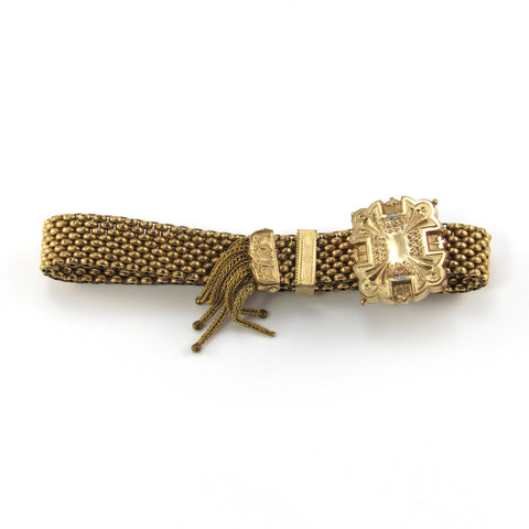 Victorian Yellow Gold Filled Mesh Slide Bracelet