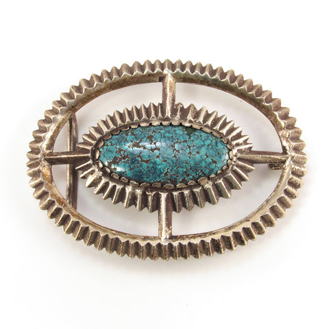 Sandcast Serrated Silver Buckle with Tibetan Turquoise