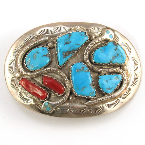 Effie Calavaza Belt Buckle with Snakes- Turquoise + Coral
