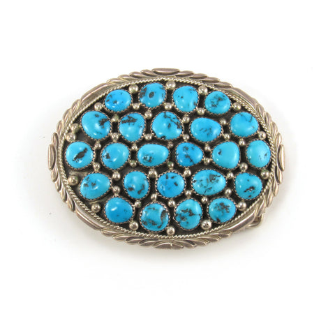 Zuni Cluster Belt Buckle- Morenci Turquoise