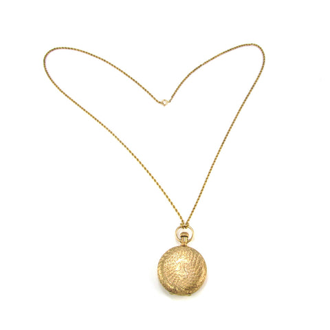 "14k Gold Antique Locket and 30"" Rope Chain"