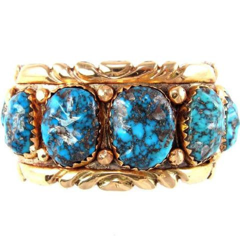 Alice Quam Bracelet 14k Gold Overlay on Sterling Silver w/ Morenci Turquoise