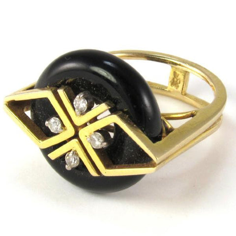 14k Gold, Diamond, & Onyx Cocktail Ring