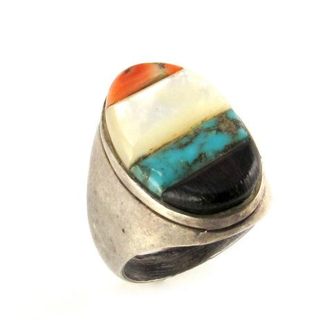 Large Man's Ring with Turquoise & Shell Inlay