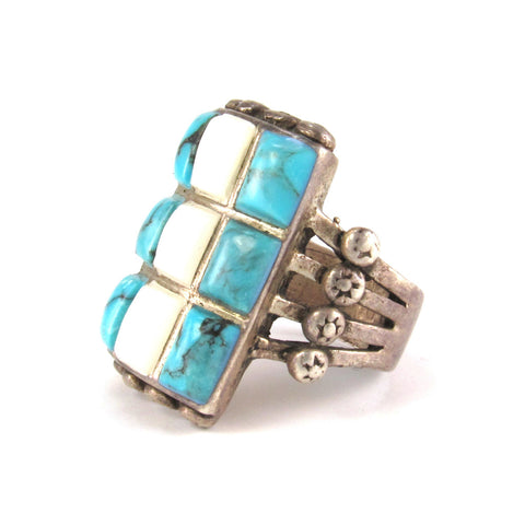 Large Ring with Turquoise & Shell Inlay