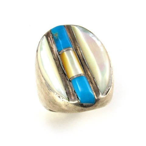 Large Man's Ring with MOP + Turquoise Inlay