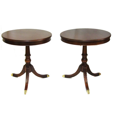 Round Mahogany Side Tables w/ Brass Paw Feet, Pair